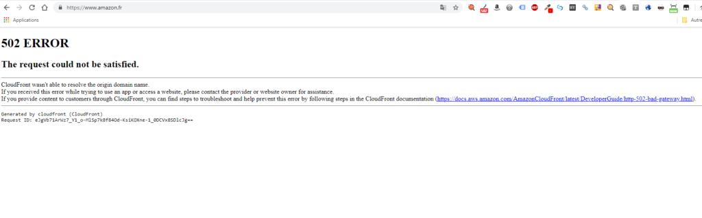 Le site Amazon planté - Erreur 502
